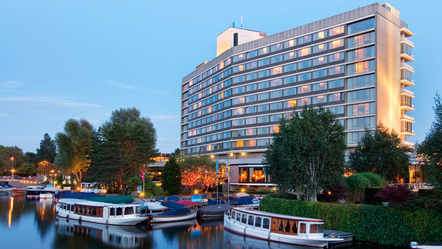 Amsterdam Hilton Exterior by the canal